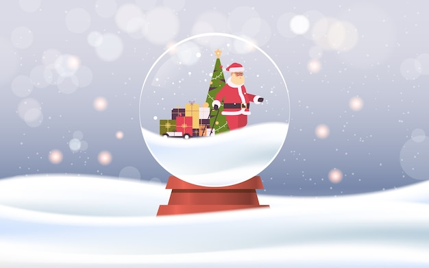 Babbo natale tirando il carrello del carrello con scatole regalo nella sfera di vetro magica buon natale felice anno nuovo vacanze invernali celebrazione concetto nevicate