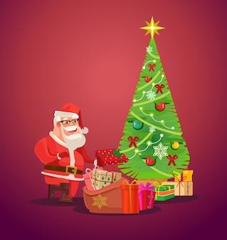 Babbo natale mette i regali sotto l'albero di natale