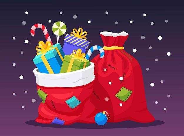 Borsa rossa di babbo natale con confezione regalo sullo sfondo. sacco di natale pieno di regali pacchetto