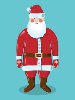 Babbo natale in abiti rossi in guanti con fiocchi di neve e cintura marrone con fibbia dorata in piedi