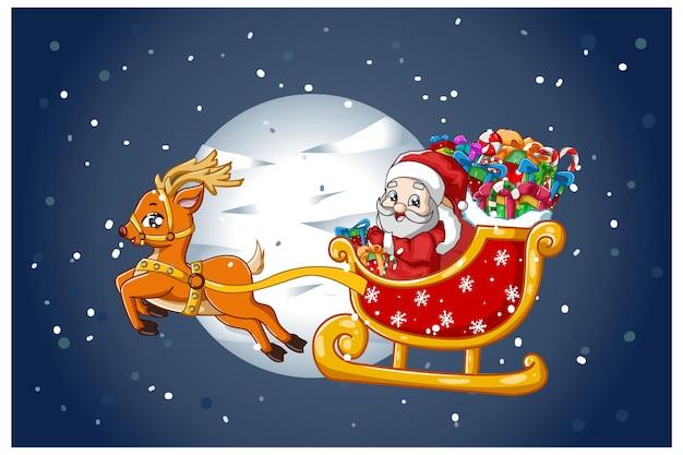 Babbo natale su una carrozza di renne che trasportano doni nella notte di natale