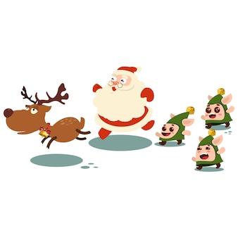 Babbo natale, renne e tre elfi. carattere isolato su uno sfondo bianco.