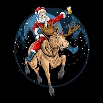 Babbo natale cavalca una renna natalizia e canta mentre trasporta un bicchiere di birra