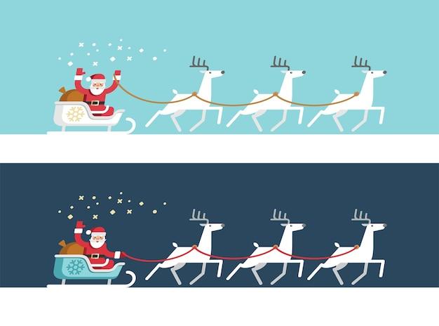 Babbo natale sulla slitta e le sue renne. biglietto natalizio.