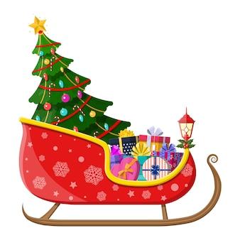 Slitta di babbo natale con scatole regalo con fiocchi e albero di natale. felice anno nuovo decorazione. buon natale vacanza. celebrazione del nuovo anno e del natale.