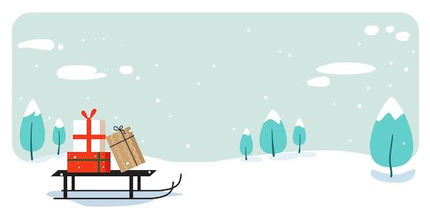 Babbo natale in slitta con la presente casella buon natale felice anno nuovo concetto di celebrazione delle vacanze biglietto di auguri inverno paesaggio innevato illustrazione vettoriale orizzontale