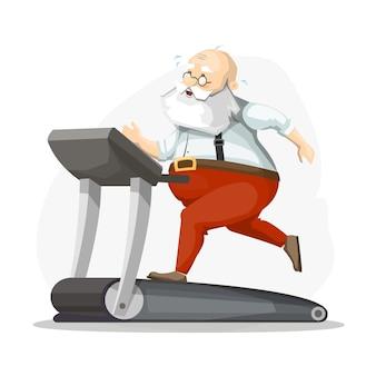 Babbo natale sul tapis roulant, correre, perdere peso. prepararsi per il natale.