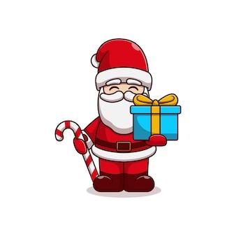Disegno di illustrazione vettoriale di babbo natale che tiene caramelle e scatola regalo