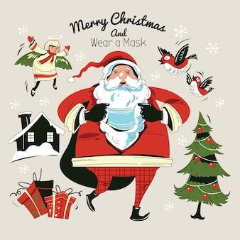 Babbo natale che cammina e indossa una maschera con sacchi regalo ed elementi natalizi