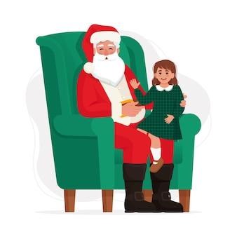 Babbo natale con un bambino seduto su una sedia illustrazione vettoriale in stile piatto