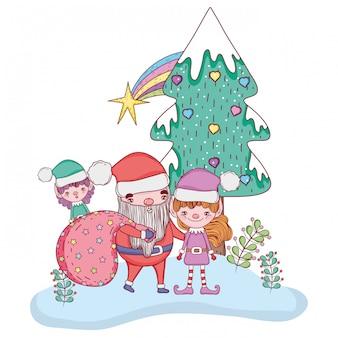 Babbo natale con elfo e pino per chritsmas