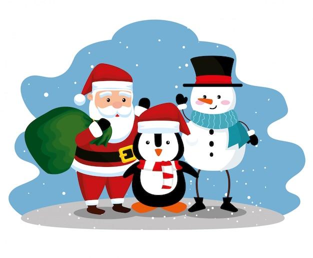Babbo natale con pinguino e pupazzo di neve per festeggiare il natale
