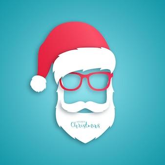 Babbo natale con cappello rosso e occhiali su sfondo blu