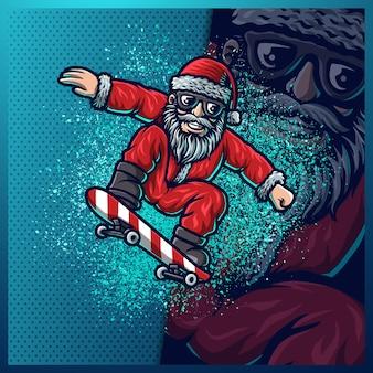 Babbo natale gioca a skateboard nella neve di natale