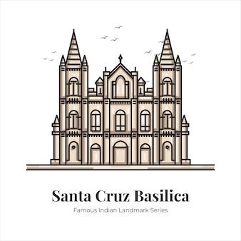 Illustrazione di arte di linea del fumetto famoso punto di riferimento iconico indiano della basilica di santa cruz