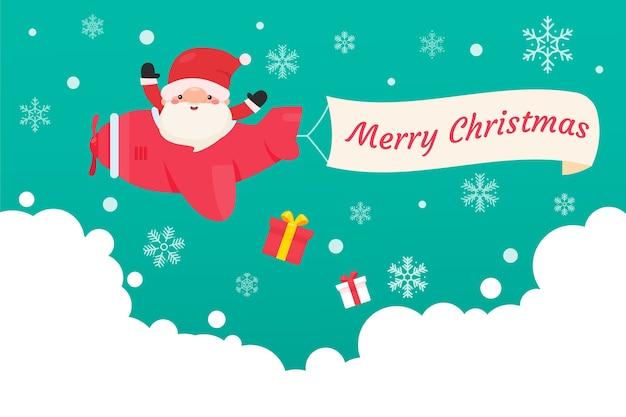 Babbo natale guida un aereo nel cielo per fare regali ai bambini nel nevoso inverno natalizio.