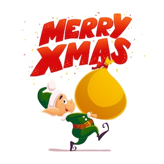 Elfo di babbo natale porta la borsa con i regali