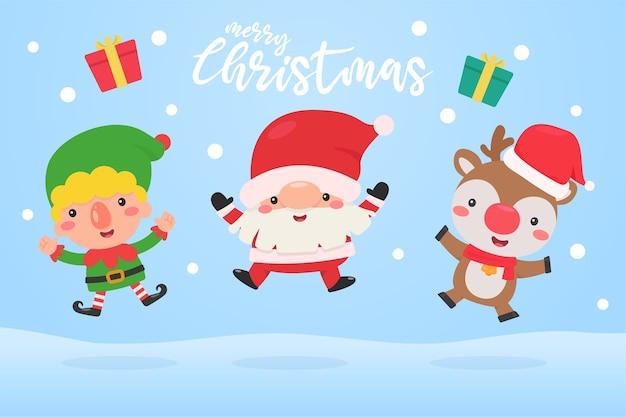 Babbo natale, elfo e renna saltano nella neve durante l'inverno di natale.