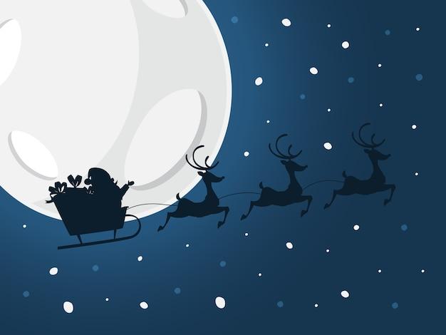 Santa che vola in slitta con borsa piena di doni e renne. cielo notturno con stelle, grande luna e sagoma nera. celebrazione di natale e capodanno. illustrazione