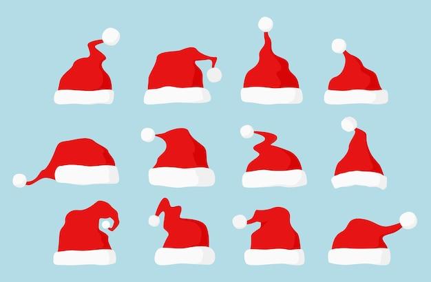 Set di cappelli di babbo natale. collezione cappellino rosso di babbo natale