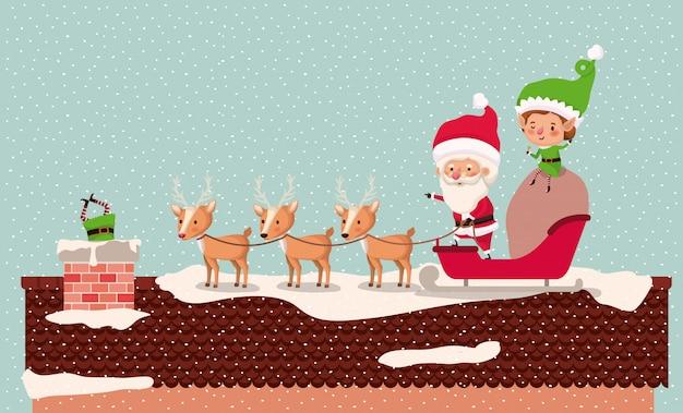 Santa e aiutante con carrozza nel camino