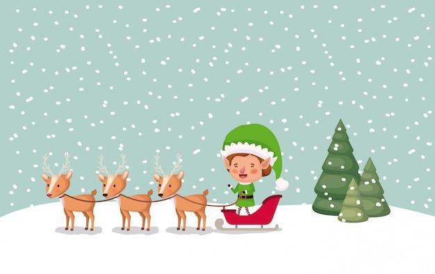 Aiutante di babbo natale con carrello e renna snowscape