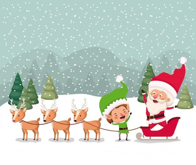 Santa e aiutante con carrello snowscape