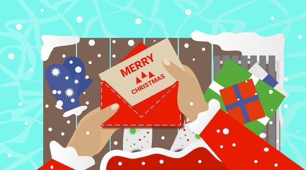 Babbo natale con biglietto di auguri di natale illustrazione vettoriale banner festivo scatole regalo