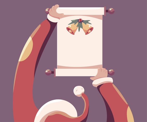 Santa che tiene l'illustrazione del fumetto della carta del rotolo isolata su fondo.