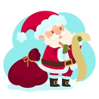 Babbo natale sta esaminando la lista dei regali