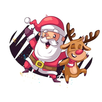 Santa e i suoi cervi ballano insieme