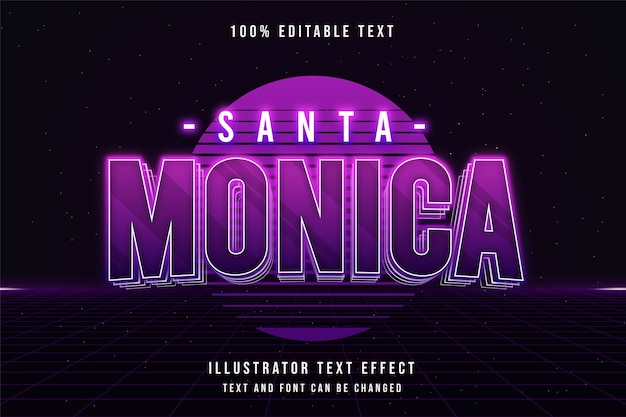 Santa monica, 3d testo modificabile effetto viola sfumato rosa neon ombra stile di testo