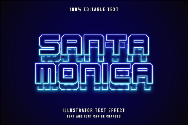 Santa monica, effetto di testo modificabile effetto neon sfumato blu