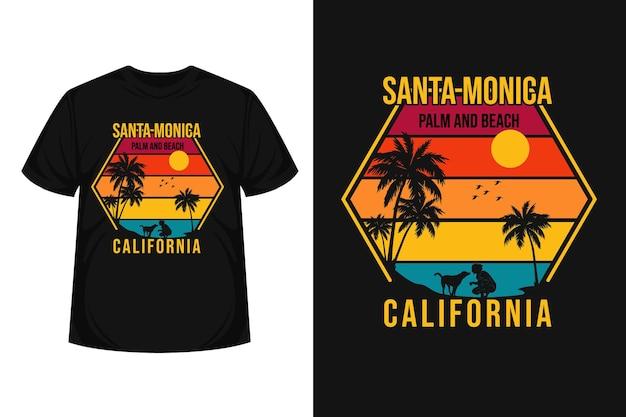 Disegno della maglietta sagoma di santa monica palma e spiaggia merce