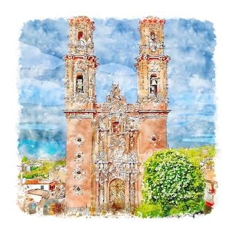 Illustrazione disegnata a mano di schizzo dell'acquerello di santa prisca taxco messico