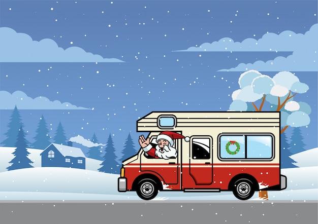 Santa cavalcando camion rv per le vacanze
