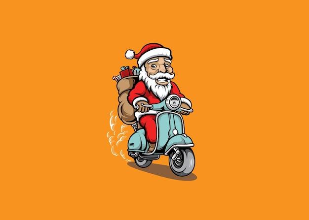 Babbo natale in sella a una mascotte di scooter