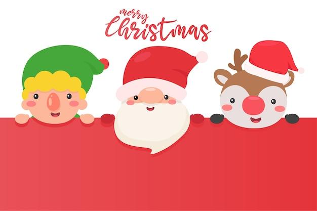 Il volto di babbo natale elfi e renne sono felici di distribuire regali ai bambini per natale.
