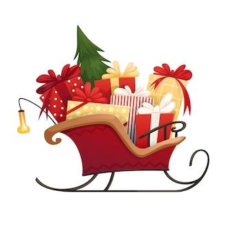 Slitta di babbo natale con scatole di regali di natale con fiocchi e albero di natale