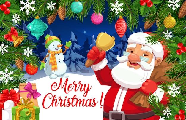 Babbo natale e pupazzo di neve nella cornice di albero di natale e regali