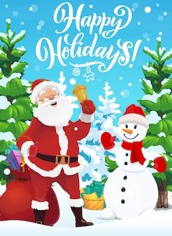 Babbo natale e pupazzo di neve con campana di natale e regali di natale.