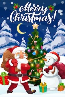 Babbo natale e pupazzo di neve con regali di natale e albero di natale, decorato con stella, campana e caramelle, calzino, palline e luci, bacche di agrifoglio, regali e fiocchi di nastro. cartolina d'auguri di vacanze invernali