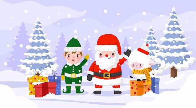 Santa con l'elfo e le pecore che celebrano il natale