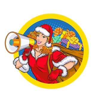 Santa donna che tiene il megafono e la borsa regalo sul segno del cerchio in stile fumetto retrò vintage pop art