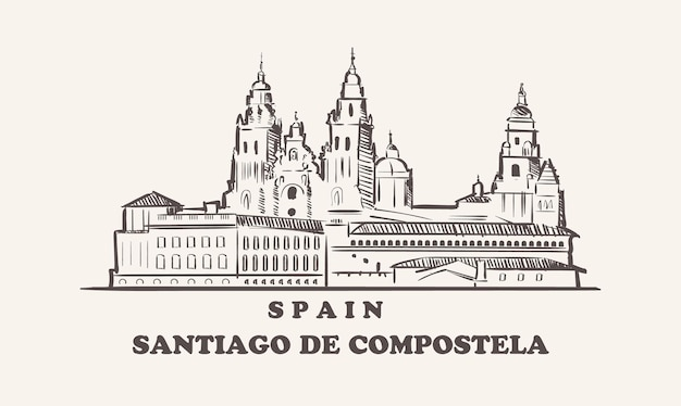 Illustrazione disegnata a mano della spagna di schizzo di paesaggio urbano di santiago de compostela