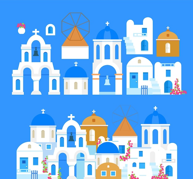 Santorini grecia edifici di architettura tradizionale set di oggetti