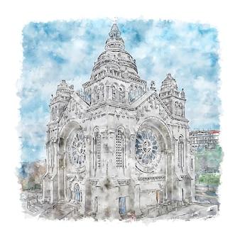 Illustrazione disegnata a mano di schizzo dell'acquerello di santuario de santa luzia portogallo