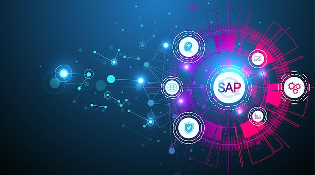 Software sap per l'automazione dei processi aziendali. modello dell'insegna del concetto di sistema di pianificazione delle risorse aziendali erp. tecnologia futura fantascienza concetto sap. intelligenza artificiale. illustrazione vettoriale