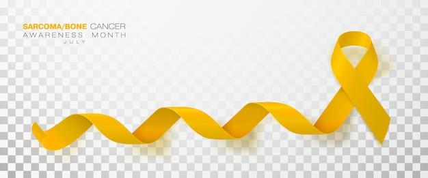 Nastro di colore giallo della settimana di consapevolezza del cancro alle ossa e del sarcoma isolato su sfondo trasparente