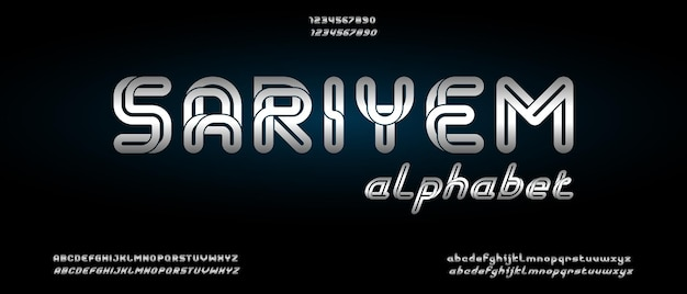 Sariyem, carattere alfabeto moderno astratto con modello di stile urbano